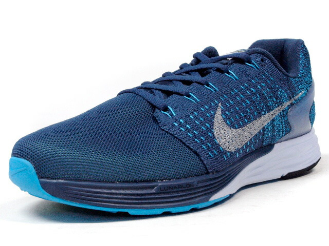 "NIKE  LUNAR GLIDE VII FLASH ""LIMITED EDITION for RUNNING FLYKNIT"" NVY/BLU/SLV/WHT (803566-400)"