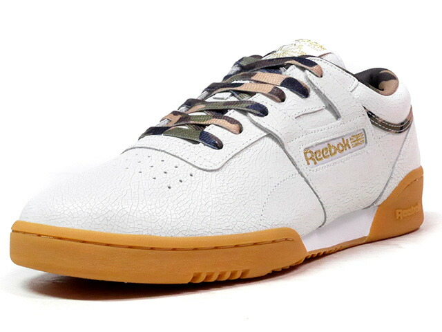 "Reebok WORKOUT LO CLEAN CN ""SNEAKER POLITICS x HUMIDITY"" ""FITNESS HERITAGE"" ""LIMITED EDITION for CERTIFIED NETWORK""  WHT/GLD/CAMO/GUM (BS7594)"