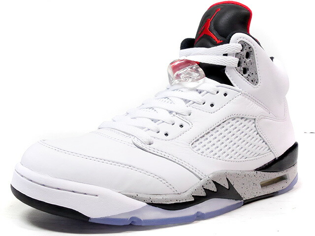 "NIKE AIR JORDAN 5 RETRO ""WHITE CEMENT"" ""MICHAEL JORDAN"" ""LIMITED EDITION for JORDAN BRAND""  WHT/GRY/BLK/RED (136027-104)"