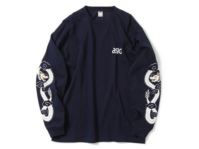 "ASICS Tiger LONG SLEEVE PRINT TEE ""BEAMS x mita sneakers""  NVY/WHT (A11700-0050)"