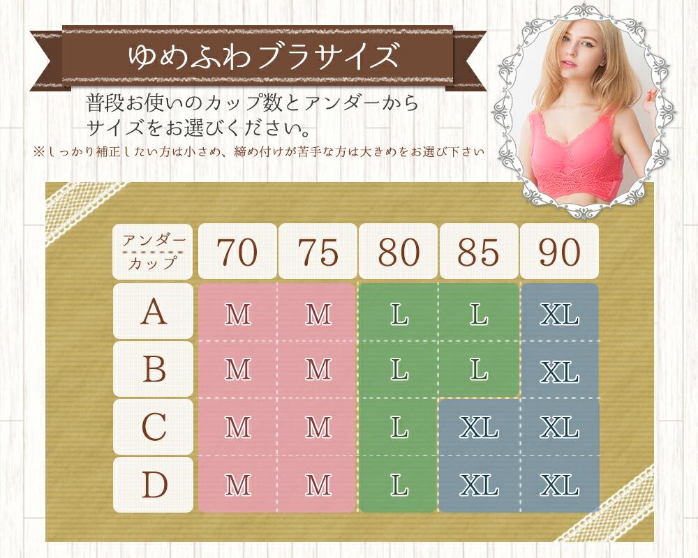 ナイトブラ/ゆめふわブラジャー/サイズ