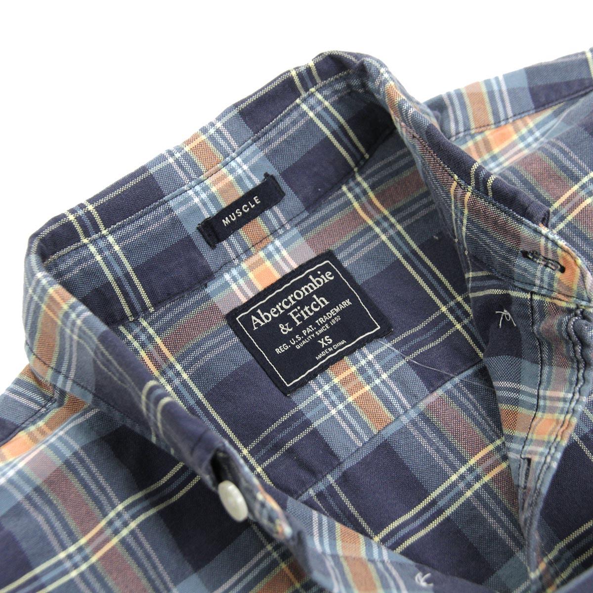 アバクロ Abercrombie&Fitch 正規品 メンズ 長袖シャツ Bleached Plaid Oxford Shirt 125-168-2359-208