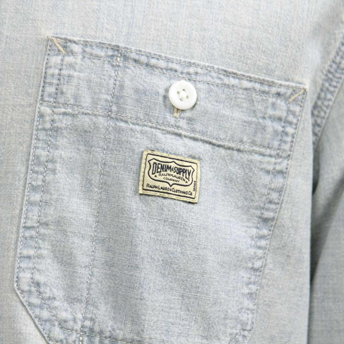 デニムアンドサプライラルフローレン DENIM&SUPPLY RALPH LAUREN 正規品 メンズ 長袖シャツ FLAG-PATCH CHAMBRAY WORKSHIRT