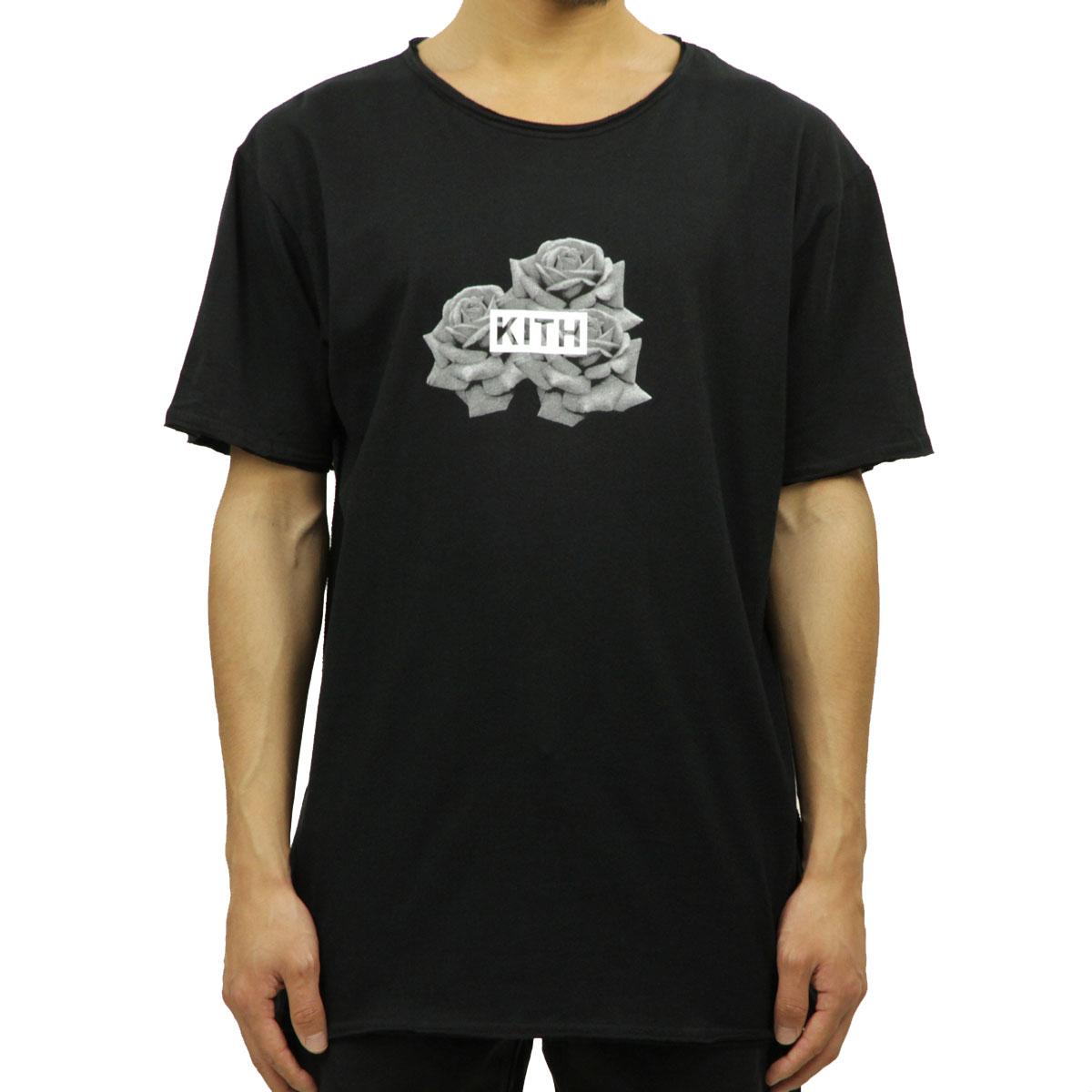 キス KITH 正規品 メンズ 半袖Tシャツ KITH CLASSICS 3 ROSES FRAY TEE BLACK KH3086-100