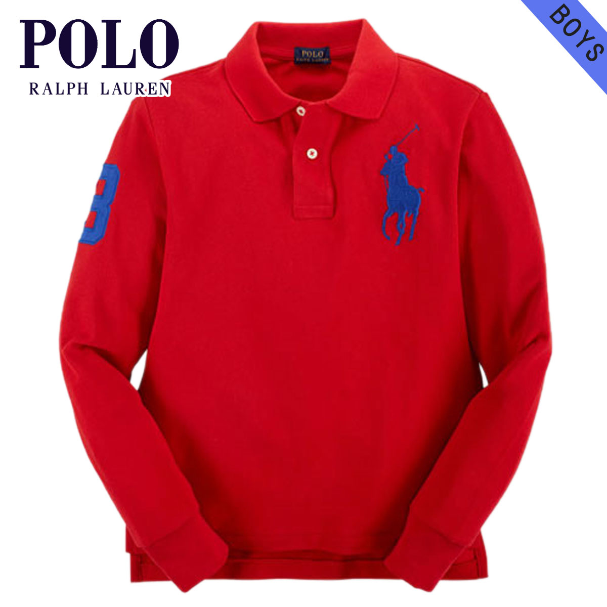 Poloralflorenkids POLO RALPH LAUREN CHILDREN genuine kids clothes boys long sleeve polo shirts CUSTOM-FIT BIG PONY SHIRT 37716606