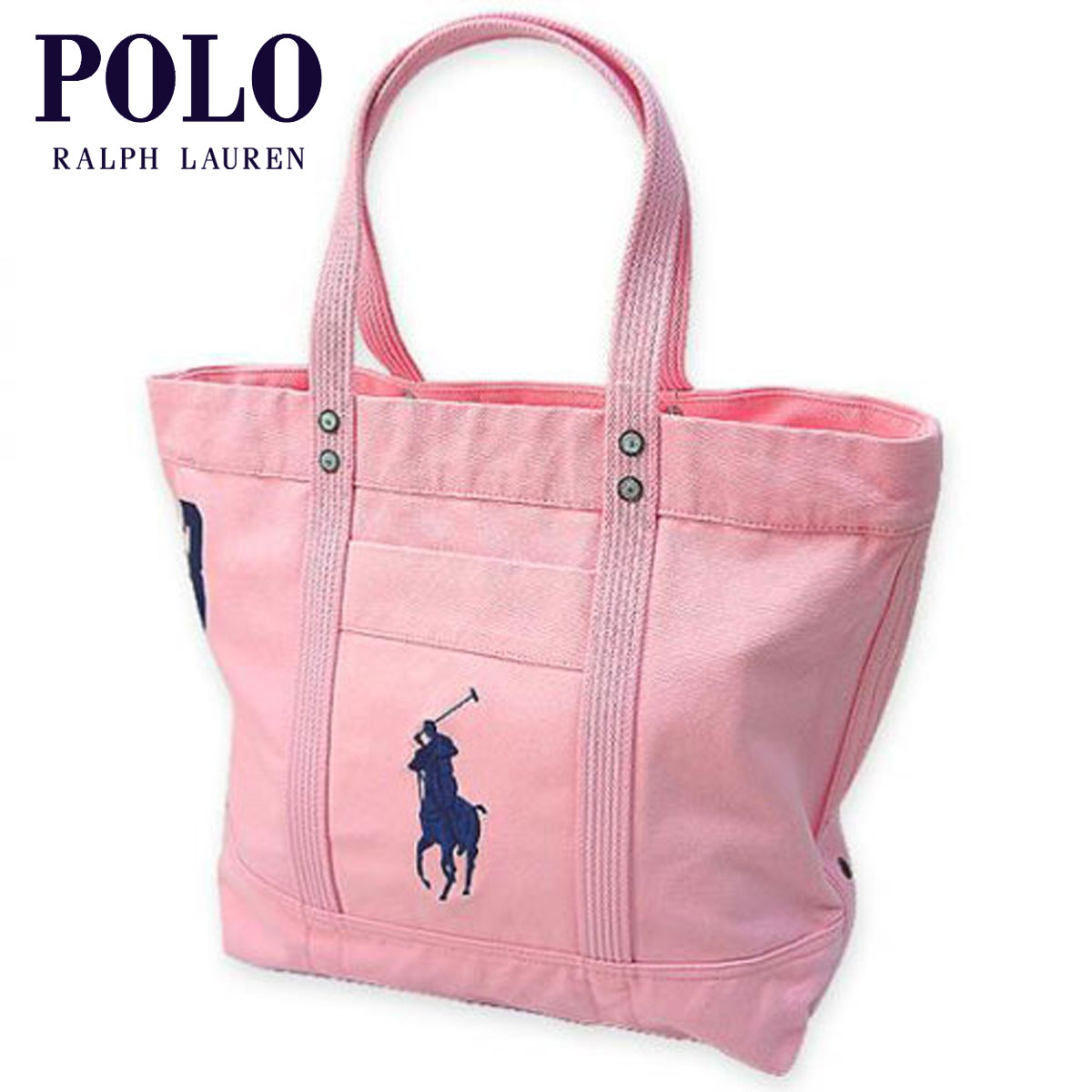 Ralph Lauren Big Pony Black Canvas Handbag