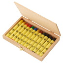 Germany, エコノーム, beeswax crayons, 12 color set, wooden box