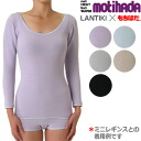 LANTIKI × もちはだ collaboration motihada round neck t-shirts for women,-attaka ladies ladies ladies ladies inner black black grey