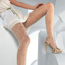 Pattern stockings / pattern stockings LEVANTE I025 floral color, black, white, purple