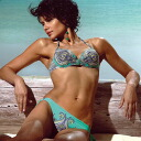 An Italian import swimsuit: JOLIDON F1843 Morocco pattern swimsuit bikini blue pink green