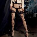 TRASPARENZE CASTING fake garters, floral design stockings fs3gm