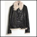■DOLCE&GABBANA Dolce & Gabbana ■ 05AW goat fur leather riders ■ black ■ 48