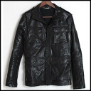 ■AKM ■ エーケーエム ■ M65 type leatherette jacket ■ black black ■ L