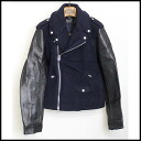 ■ Melton Ray jacket Navy Black 48 Acne Studios (akunestudios) 13 AW sleeves leather switching ■ a