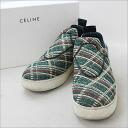 ■ CELINE (Celine) 14 SS LOVE LIFE check pattern slip-on green 42 ■ b