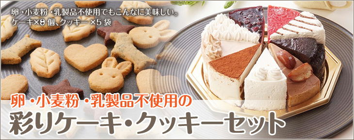 卵・小麦粉・乳製品不使用の彩りケーキ・クッキーセット
