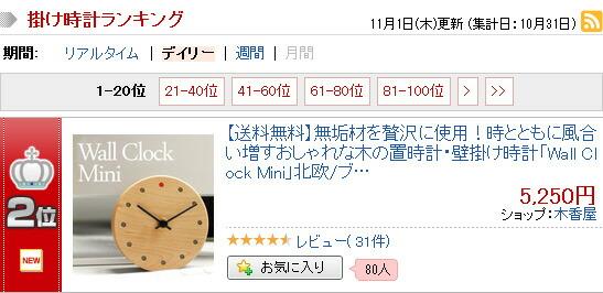 掛け時計ランキング