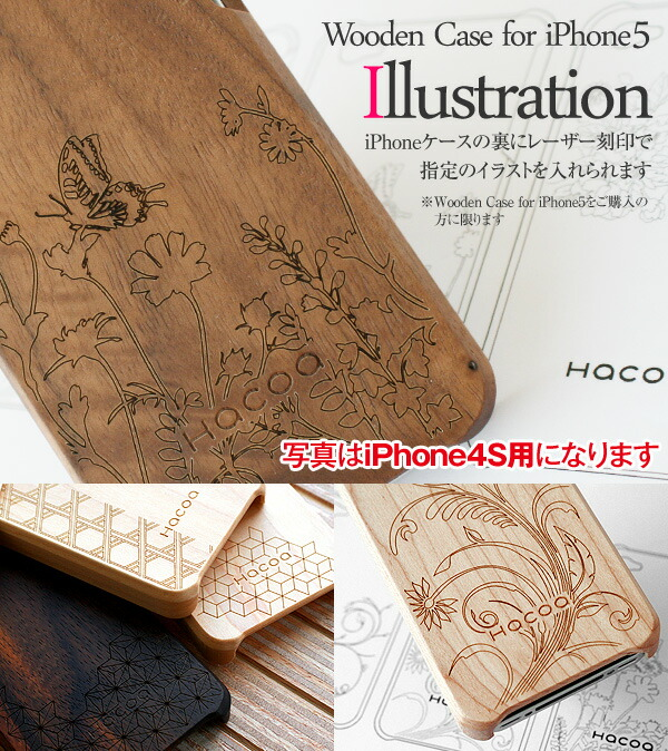It is an illustration to wooden iPhone5/5s case