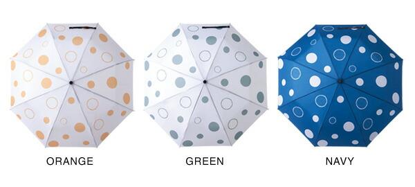 折り畳み傘のカラーはポップなオレンジとグリーン、シックなネイビーをご用意
