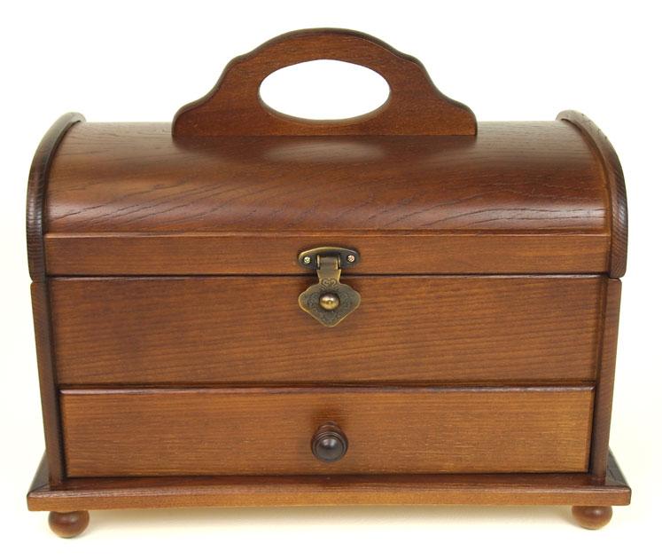 色缝制箱(日本制造)★针线盒★圆形天板的木制棕色