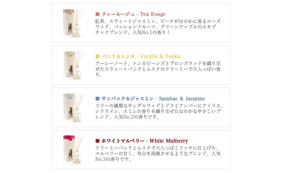 インテリアパフューム リードディフューザーの個性的な4種類の香りとパッケージデザイン