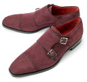 CORDWAINER Cordwainer stitch W monk strap OSWALD-4 suede Bordeaux