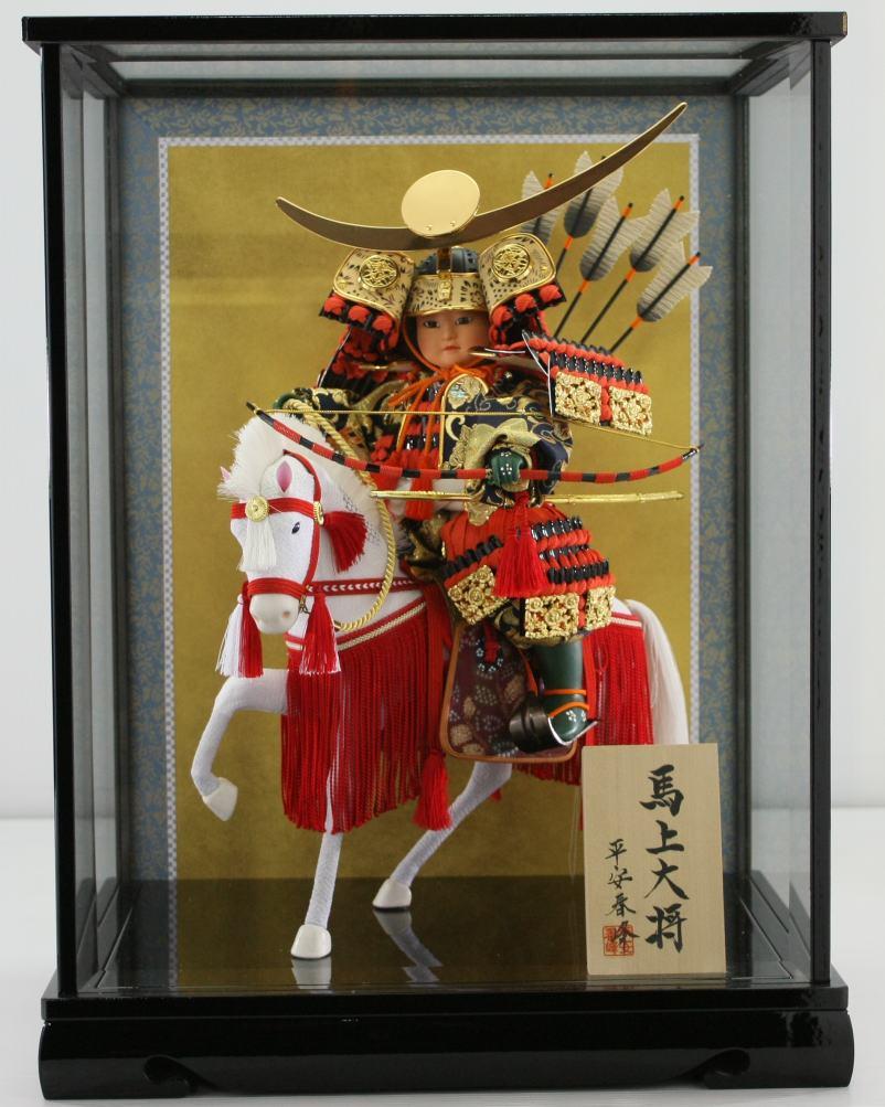 上杉謙信公馬乗り大将ケース脇飾りケース馬乗り武者人形