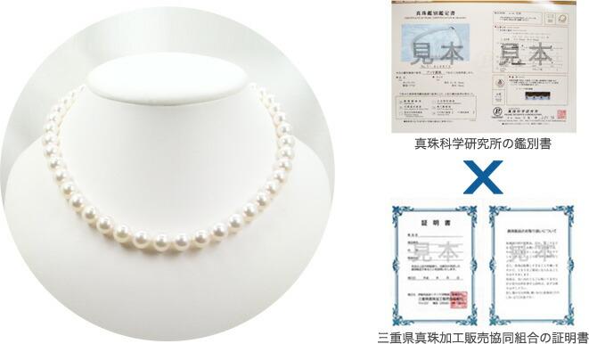 花珠真珠・真珠科学研究所の鑑別所・三重県真珠加工販売協同組合の証明書