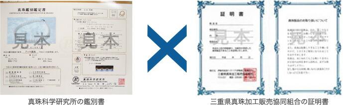 真珠科学研究所の鑑別所・三重県真珠加工販売協同組合の証明書