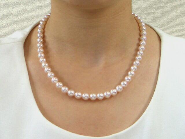 花珠真珠ネックレスセット ピアスorイヤリング 6.5〜7.0mm
