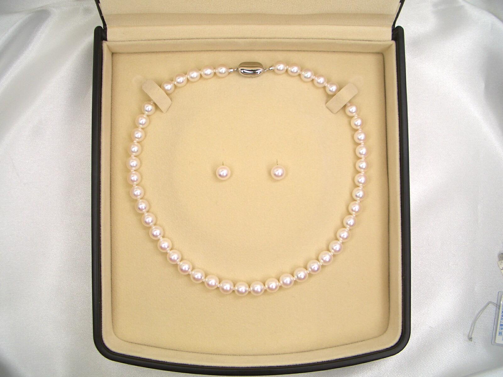 花珠真珠ネックレスセット ピアスorイヤリング ケース 6.5〜7.0mm