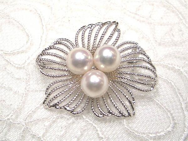 真珠,パール,ブローチ