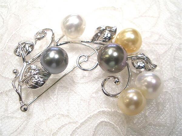 シロチョウ真珠ブローチ