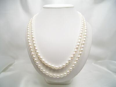 淡水真珠ロングネックレス(正面2連)