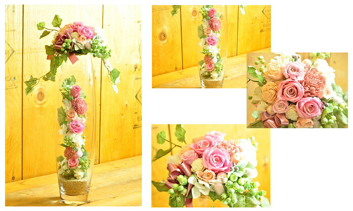 【ピンク×ホワイト】プリザーブドフラワーのお店ムニュムニュ【Flower Munyu Munyu】