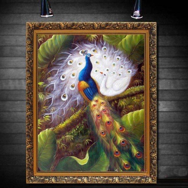 孔雀孔雀动物油画图片 ◆ f10(53.0 x 45.5 cm) f50(116.7 x 91.
