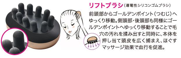 リフトブラシゴールデンポイントつむじ側頭部後頭部毛穴汚れマッサージ