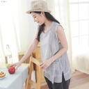 Sleeveless embroidery race linen blouse