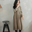 Long sleeves embroidery race cotton A-line long petticoat one piece