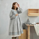 Long sleeves embroidery race cotton A-line long one piece