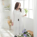 7 sleeve embroidered lace cotton long dress.