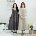 Sleeveless embroidered lace 2way linen long dress