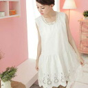 10% Off sleeveless embroidered lace cotton blouses fs3gm