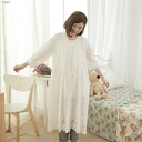 Long-sleeved embroidered lace cotton A long dress