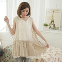 2 in 1 sleeveless embroidered linen blouse