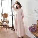Short sleeve cotton long A line dress