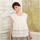 Sleeveless embroidered cotton blouse