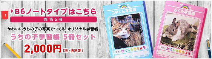 かわいいうちの子の写真でつくる、オリジナル学習帳 うちの子学習帳5冊セット 2,000円(税・送料別)
