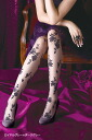 Rose mesh print stocking (made in Japan)-z fs3gm