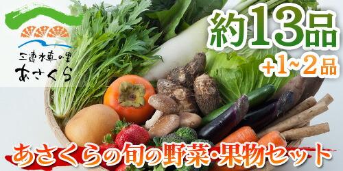 あさくらの旬の野菜・果物てんこ盛りセット 野菜約13品+果物1〜2品